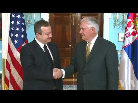 Secretary of State Rex Tillerson greets Serbian FM Ivica Dacic