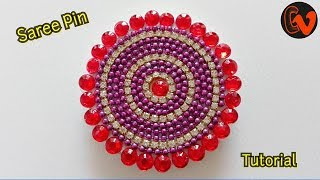 How to make Quilling Saree Pin /  Saree Brooch / Tutorial 1