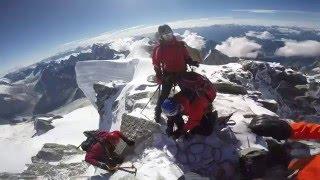 Pure action alpinism Mont Blanc du Tacul 4248m summit GoPro HD