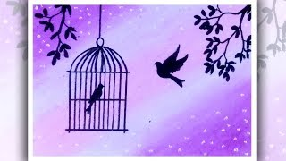 How to draw Birds Want freedom | Birds in cage drawing | Oil pastels drawing