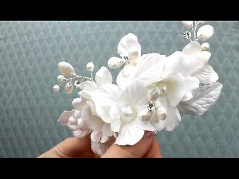 White Silk Flower Bridal Hair Comb Ans 7759 Youtube