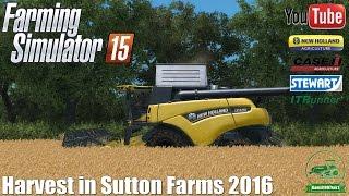 Harvest in Sutton Farms 2016 ㋡ New Holland 8.90 & 7.90 + Varifeed 25ft - Farming Simulator 15