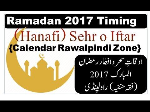 Ramadan 2017 Timing Hanafi Sehr O Iftar Calendar Rawalpindi