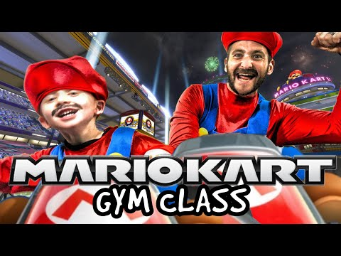 Kids Workout! MARIO KART GYM CLASS! Real-Life VIDEO GAME! Kids Workout Videos, DANCE, & P.E. FUN!