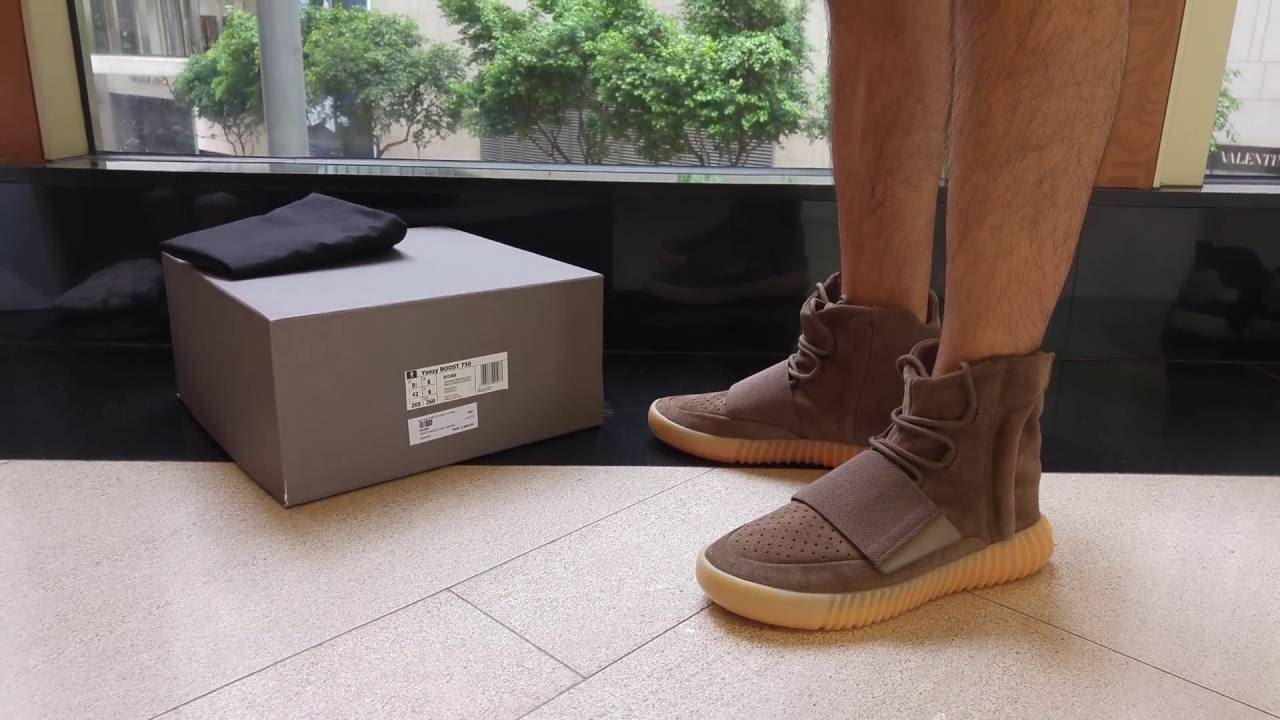 bd1e3a12780b0 Adidas Yeezy Boost 750 Chocolate Brown BY2456 On Feet (4K Ultra HD ...
