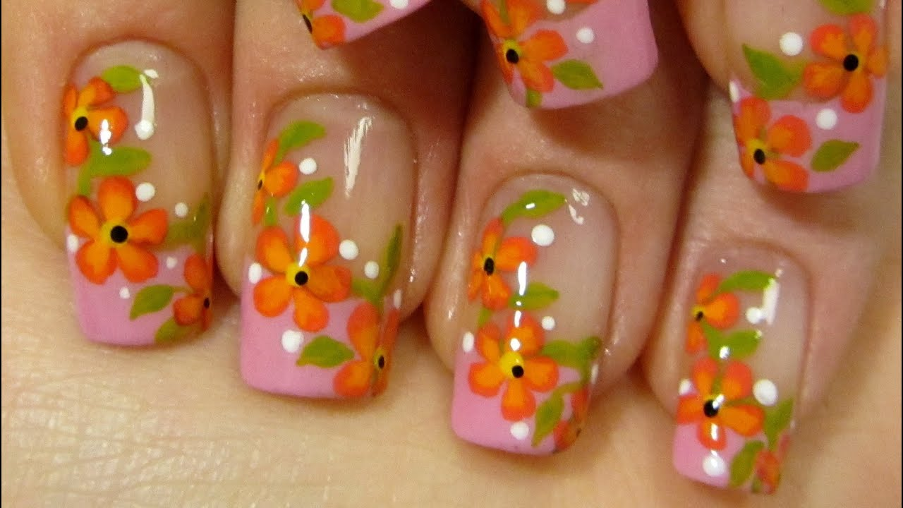 Pink French with Summery Red & Orange Flower Vine Design ...
