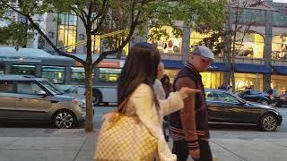 Vancouver 10 Minute WALK: ROBSON STREET (DUSK) Heading East - 4K