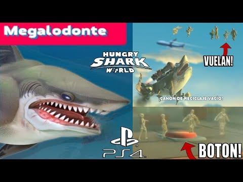 Hungry Shark World PS4 #16 Megalodonte! PULSO EL BOTÓN DE LA PLATAFORMA PETROLÍFERA Y LA GENTE VUELA
