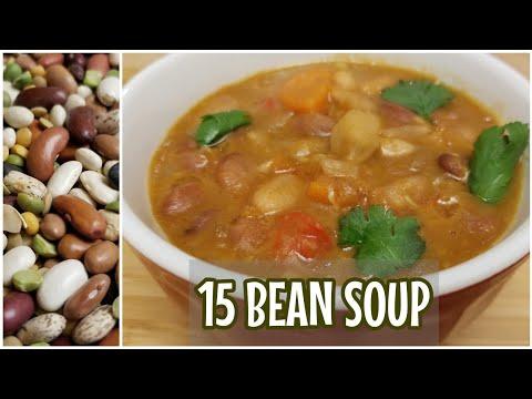 High Protein Vegetarian Soup | Vegetarian 15 Bean Soup | One Pot Winter Soup