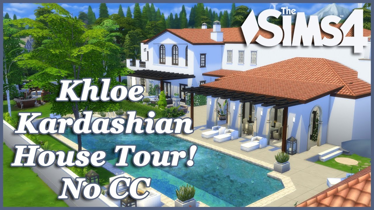 The Sims 4 Khloe Kardashian Mansion No Cc House Tour Youtube