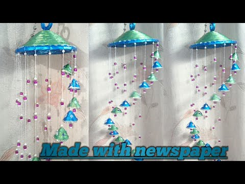 wind chimes with newspaper | best out of waste| diy home decoration