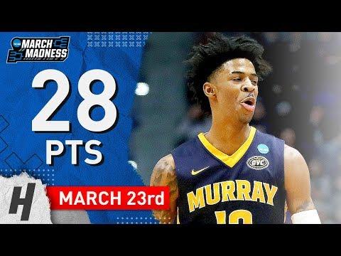 Ja Morant Full Highlights Murray State vs Florida State 2019.03.23 - 28 Points!
