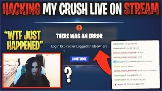 I HACKED My CRUSH's RARE FORTNITE ACCOUNT LIVE on STREAM... (MAD)