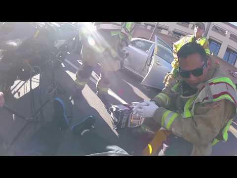 Car opens door! Motorcycle crash