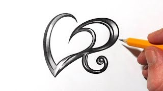 Drawing Initial R and Heart Design with Metal Effect Shading