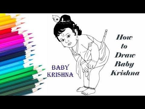 How To Draw Baby Lord Krishna Krishna Sketch Youtube
