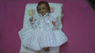 Repeat youtube video 1 DE 5 COMO TEJER VESTIDO NIÑO DIOS 2DA. OPCION PUNTO OLAN GANCHILLO CROCHET