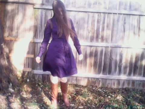 Wind Blowing Woman Hair And Purple Dress Sideways gust windy flying flies blows belt