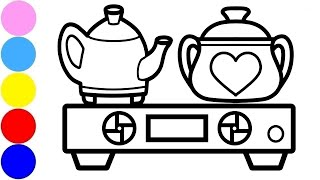 Coloring Stove, Pan & Kettle and Simple Drawing Art