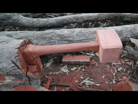 Making a Wooden Mallet from a Log, Woodworking with a Chainsaw