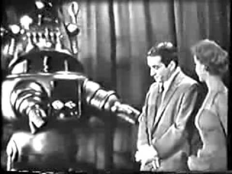 Robby the Robot and Anne Francis on TV