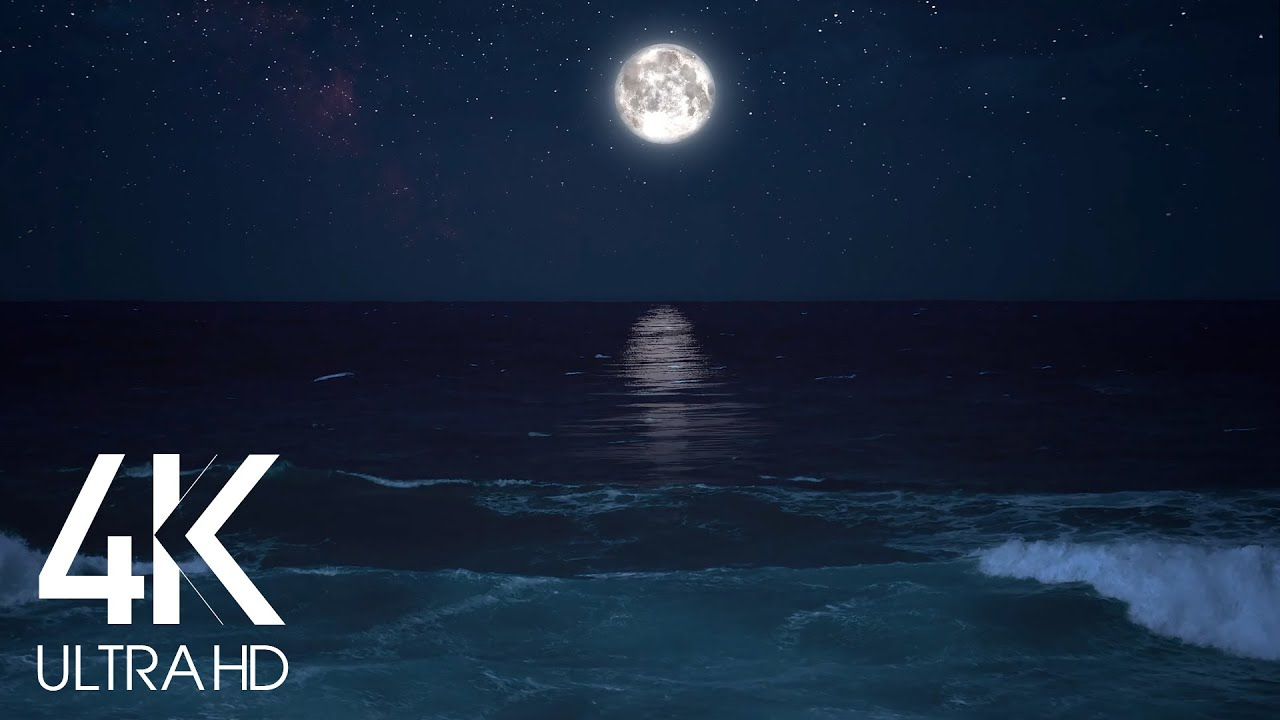 10 HOURS Calming Sounds of Night Ocean - Full Moon Night With Wave Sounds for Deep Sleeping