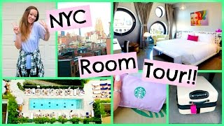 TRAVELING TO NEW YORK!! + HOTEL ROOM TOUR!!