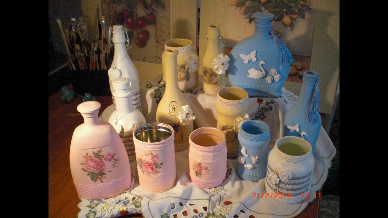 Potchen auf Glas - Flaschen Upcycling Deko im Shabby oder Vintage