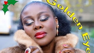 GOLD GLITTER CUT CREASE   HOLIDAY TUTORIAL. Thumbnail
