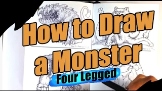 How to Draw a Monster - 4 Legged - Easy Things to Draw