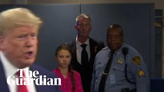 Greta Thunberg stares down Donald Trump as he arrives for UN climate summit