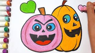 Coloring Pumpkin Fun For Halloween    Draw For Kids