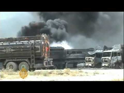 NATO trucks destroyed after Afghan Taliban attack