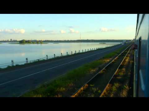 The beauty of Ukraine. A train ride across the Dnepr river at Cherkassy