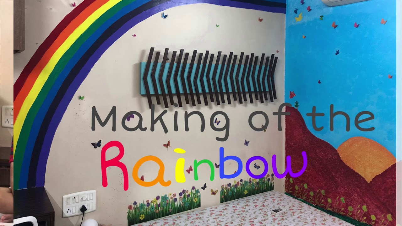 Wall Painting Designs Ideas Rainbow Painting On Wall To Welcome Baby Nivya Youtube
