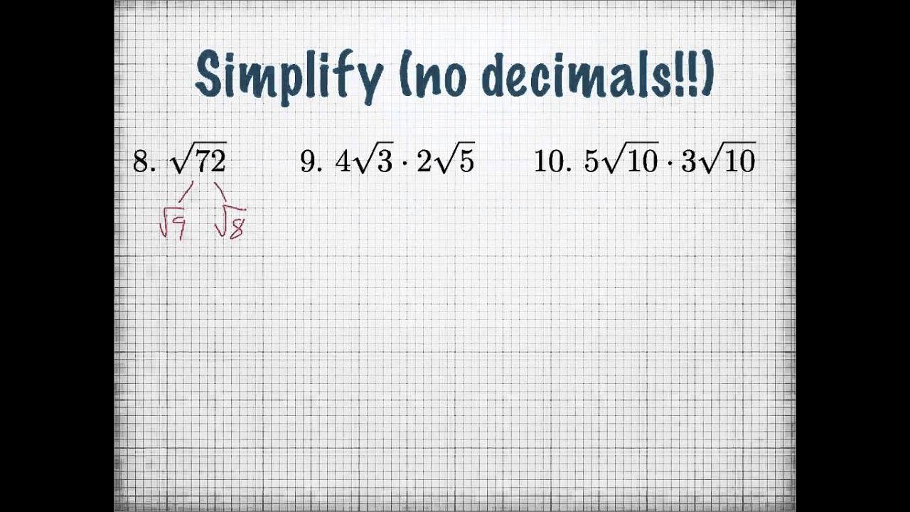 Simplified Radical Form YouTube – Simplest Radical Form Worksheet