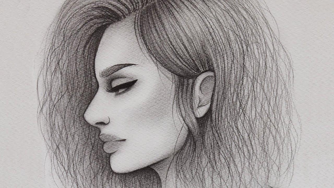 تعلم الرسم بالرصاص كيف ترسم بورتريه جانبي للمبتدئين رسم وجه