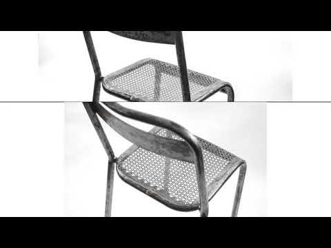 Mategot set of six metal chairs rigitule