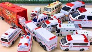 Various Ambulance toy Runs into Disney Pixar Cars Mack Truck はたらくくるま救急車のミニカーがディズニーカーズマックにすぽすぽGizmone