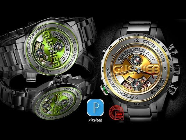 Tutorial Pixellab Kereen..!! Cara Membuat 3D Elegant Watch Concept