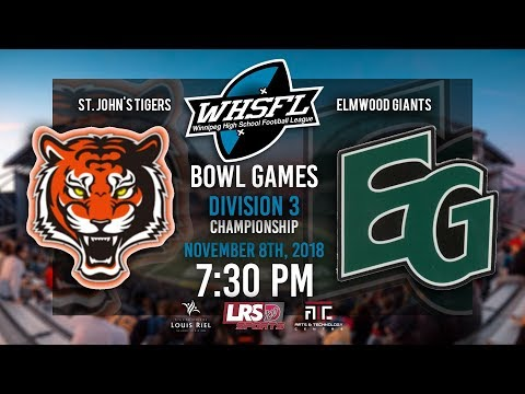WHSFL Bowl Games - Division 3 Championship - St. John's Tigers VS. Elmwood Giants