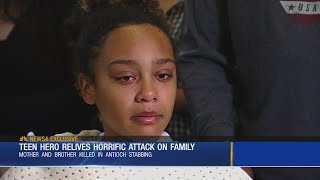 Teen hero relives horrific attack on family
