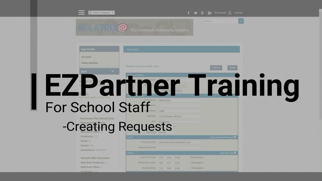 EZPARTNER - How To Create School Requests