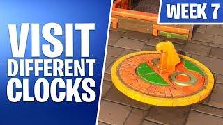 Fortnite Week 8 Challenges | Visit Different Clocks (Working Locations) | Season 9