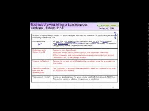 CA IPCC PGBP 73 - Business of plying, hiring or Leasing goods carriages - Section 44AE