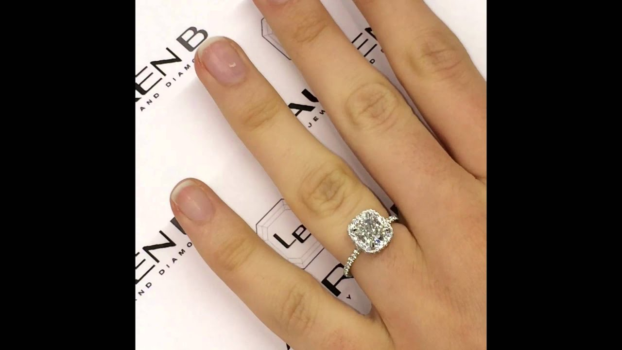 Square halo engagement rings with band