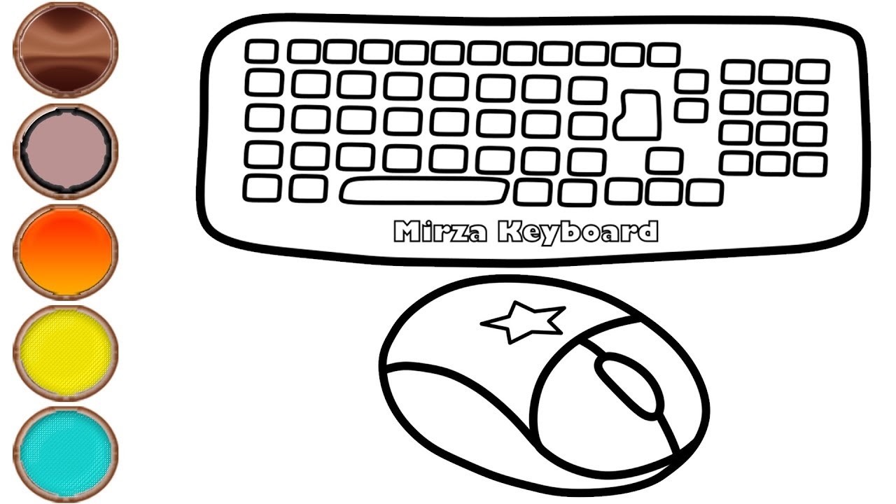 Glitter Computer Keyboard And Mouse Drawing Coloring Pages Mirza Colors Kids Youtube