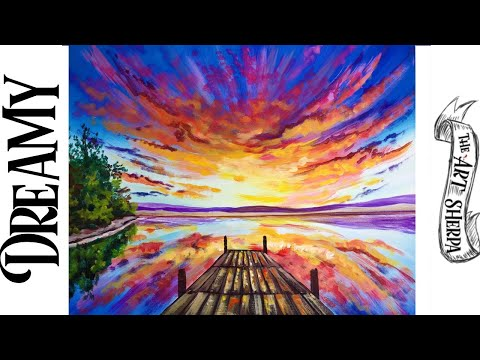 Dreamy sunset with Dock Step by step Acrylic Tutorial | TheArtSherpa