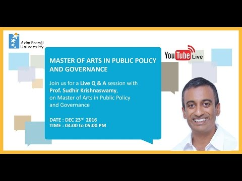 Master of Arts in Public Policy & Governance. Live session with Prof. Sudhir Krishnaswamy