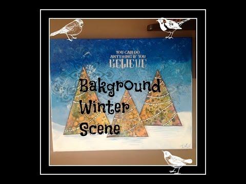 Mixed Media Trees - Background Winter Scene (Part 2)